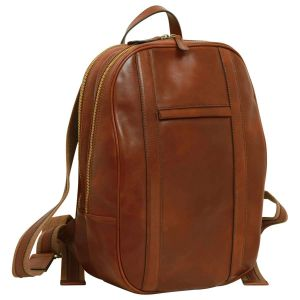 Soft Calfskin Leather Laptop Backpack - Brown