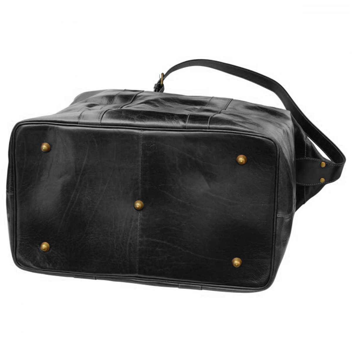 Cowhide vachetta leather travel bag - Black | 001805NE E | Old Angler Firenze