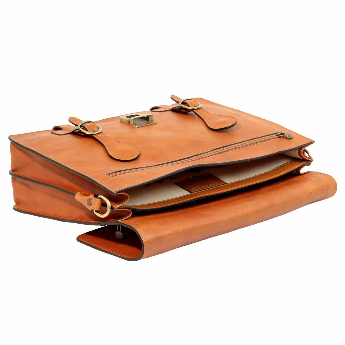 Leather Briefcase with buckle closures - Brown Colonial | 005389CO | EURO | Old Angler Firenze