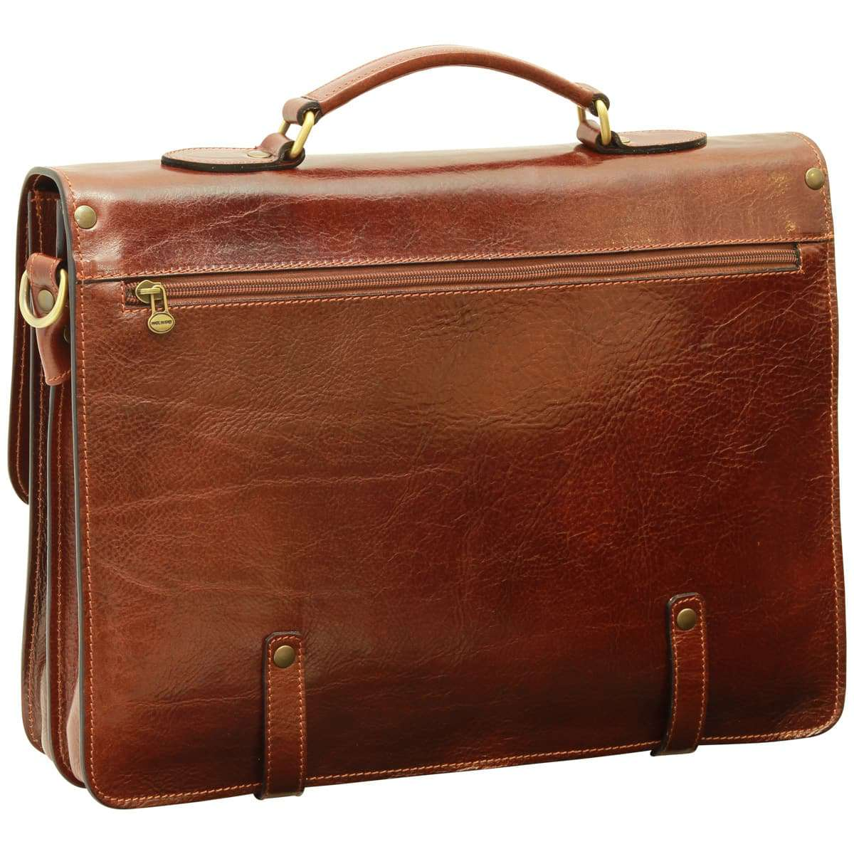 Leather Briefcase with buckle closures - Brown | 005305MA W | Old Angler Firenze