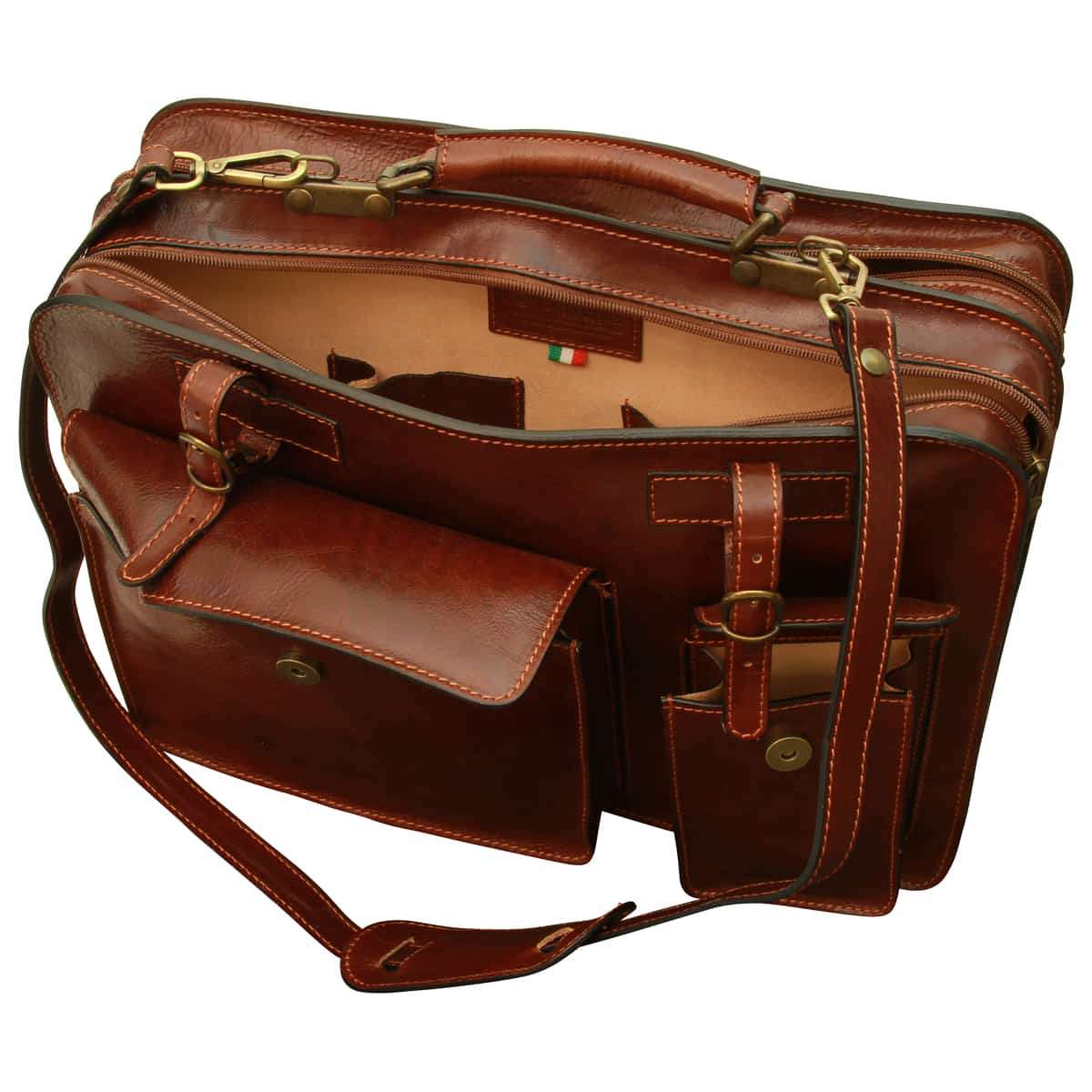 Leather Briefcase with belt straps - Brown | 006205MA UK | Old Angler Firenze
