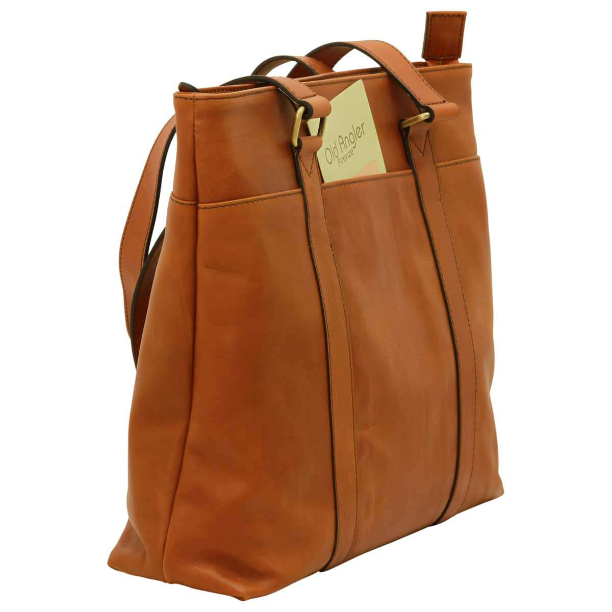 Soft Calfskin Leather Tote Bag - Brown Colonial | 030691CO UK | Old Angler Firenze