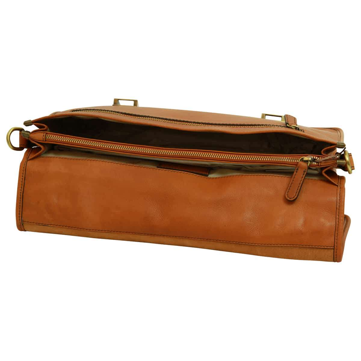 Soft Calfskin Leather Briefcase with shoulder strap - Gold | 030991CO E | Old Angler Firenze