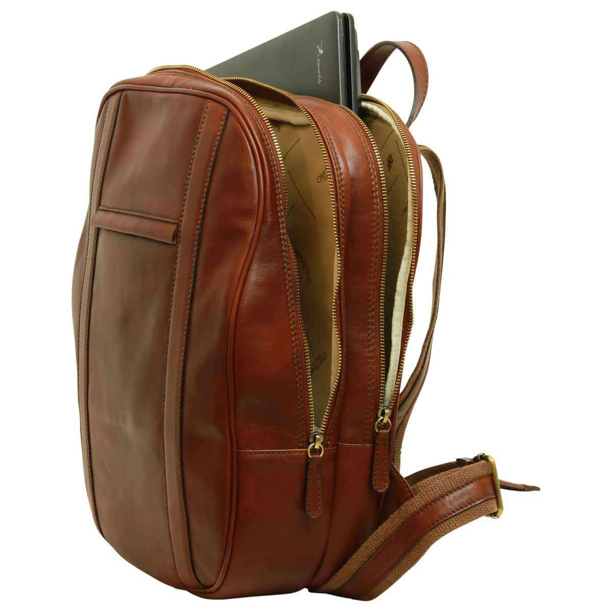 Soft Calfskin Leather Laptop Backpack - Brown | 031491MA E | Old Angler Firenze