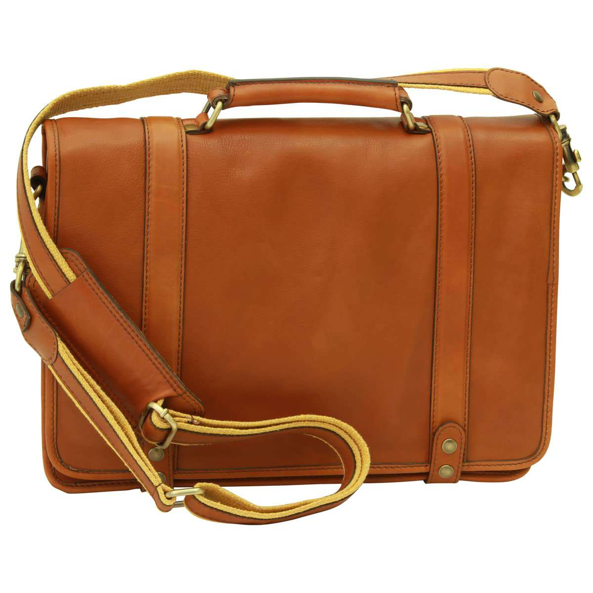 Calfskin Nappa leather briefcase - Gold | 031591CO UK | Old Angler Firenze
