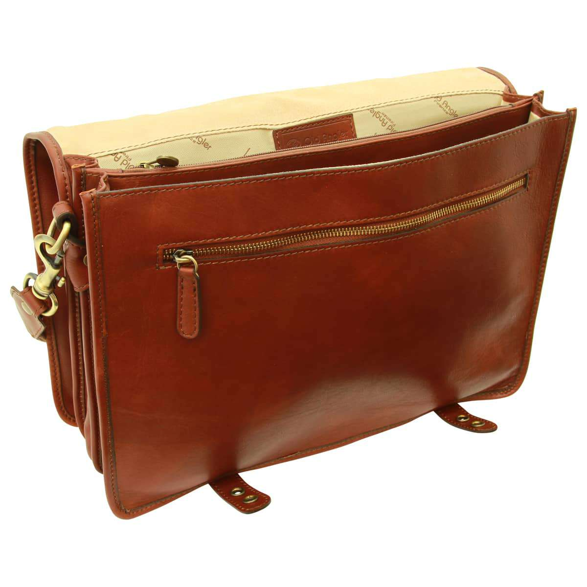 Calfskin Nappa leather briefcase - Brown | 031591MA E | Old Angler Firenze