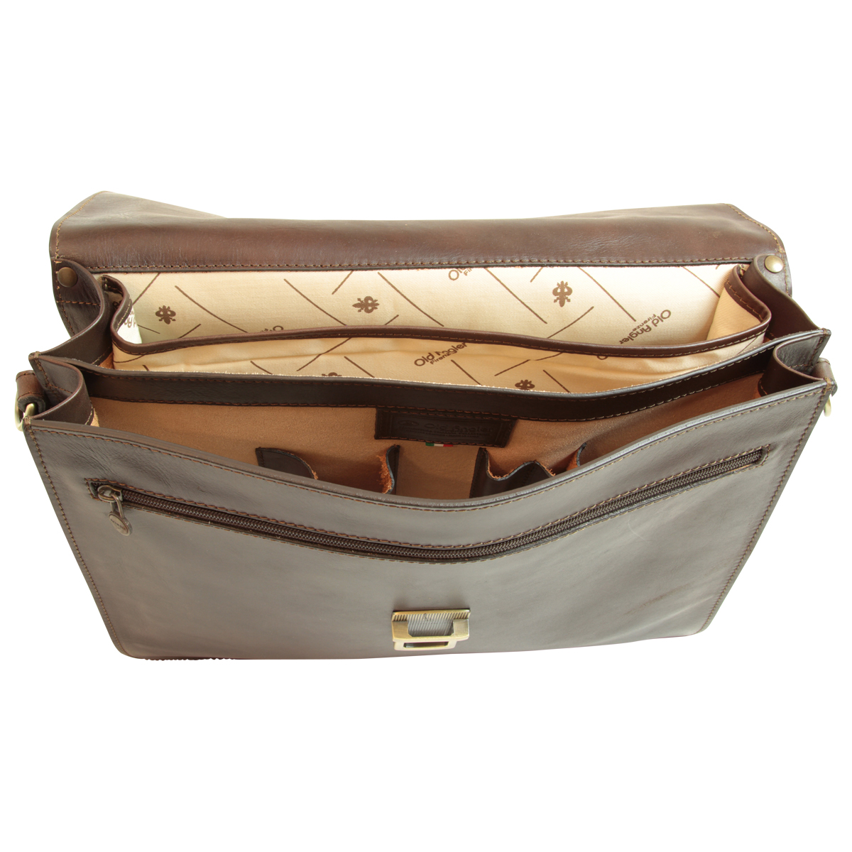 Cartella in Pelle per Laptop. Marrone Scuro | 052889TM | Old Angler Firenze