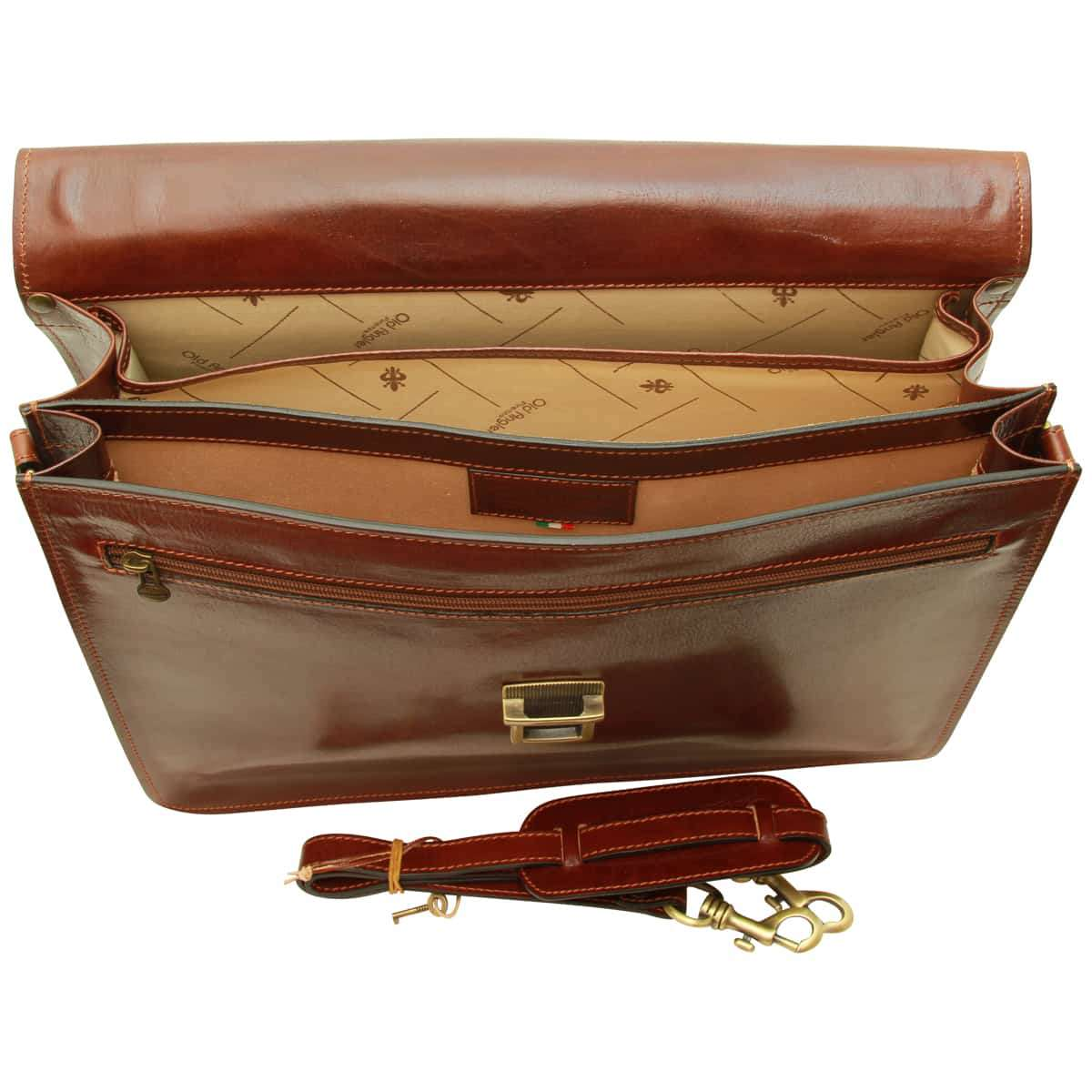 Leather Laptop Briefcase - Brown | 052805MA E | Old Angler Firenze