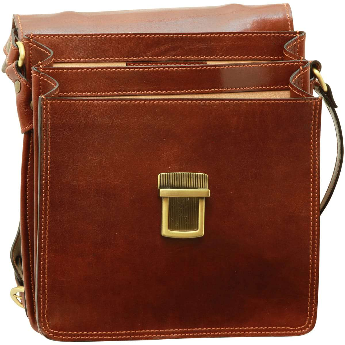 Leather Cross Body Satchel Bag - Brown | 056505MA UK | Old Angler Firenze