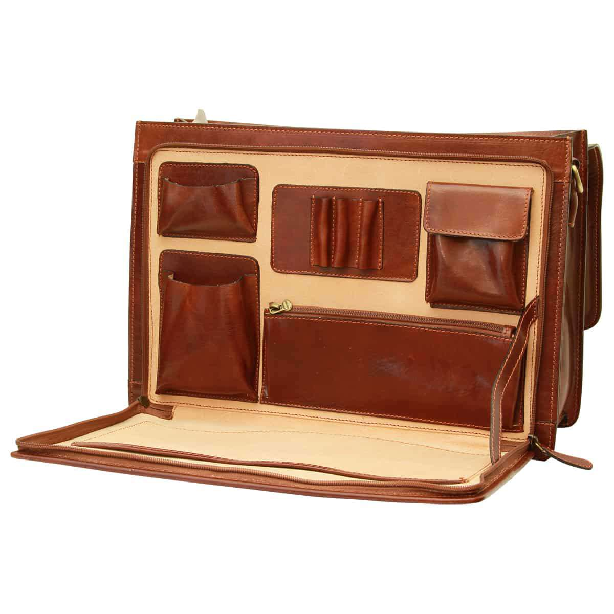 Cowhide leather briefcase - Brown | 059805MA UK | Old Angler Firenze