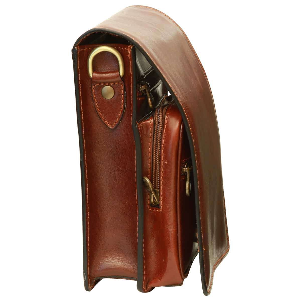 Leather Cross Body Satchel - Brown | 065205MA UK | Old Angler Firenze