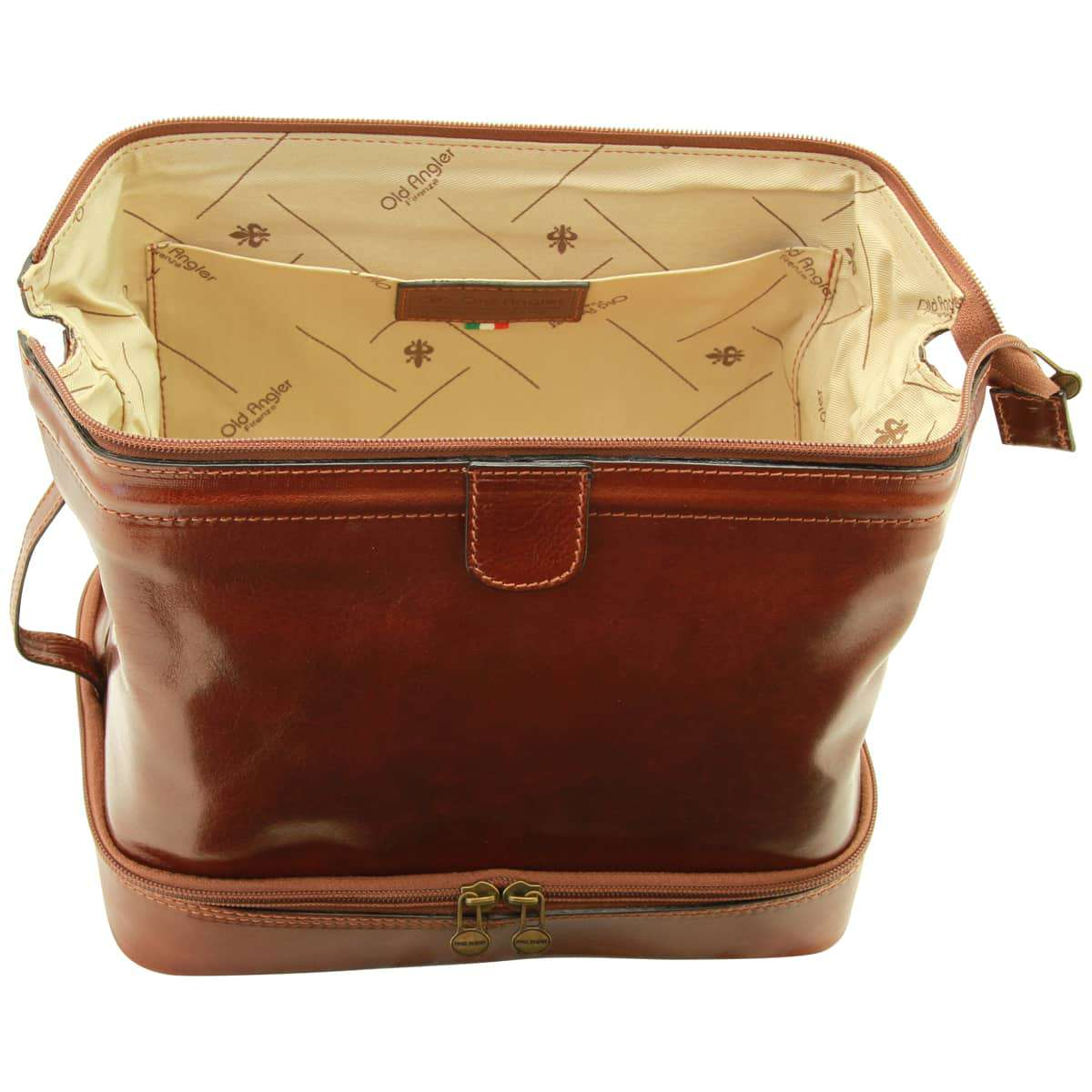 Cowhide leather travel kit - Brown | 066205MA UK | Old Angler Firenze