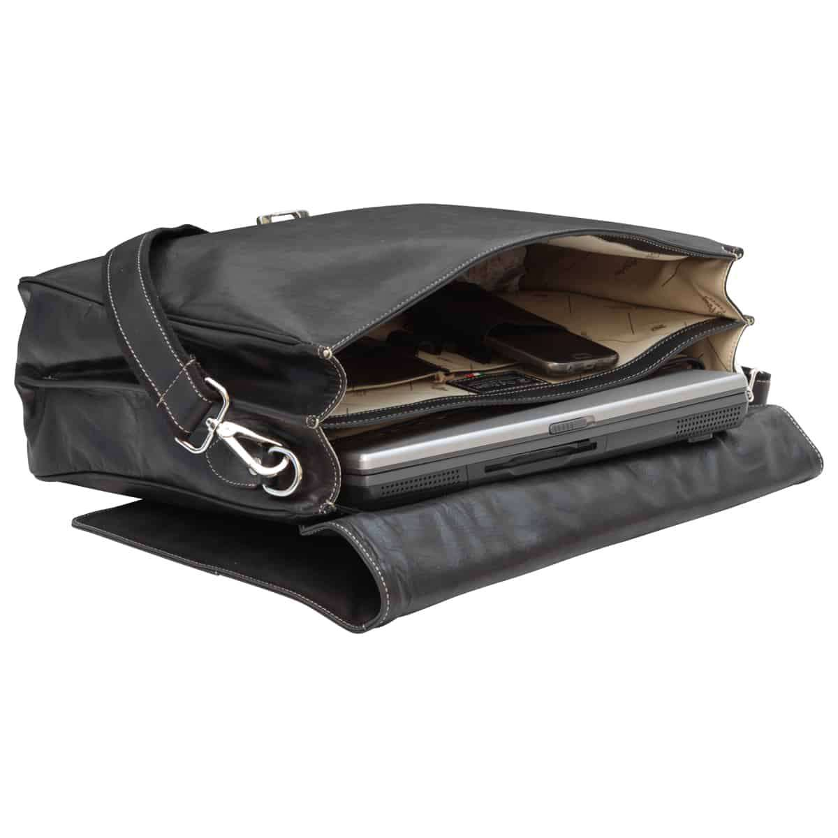 Oiled Calfskin Leather Briefcase with frontal zip pocket - Black | 073861NE E | Old Angler Firenze