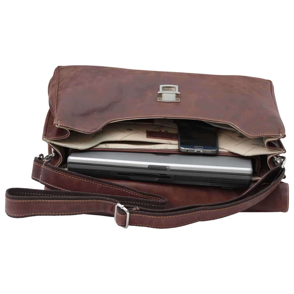 Oiled Calfskin Leather Briefcase with key closure - Chestnut | 074061CA E | Old Angler Firenze