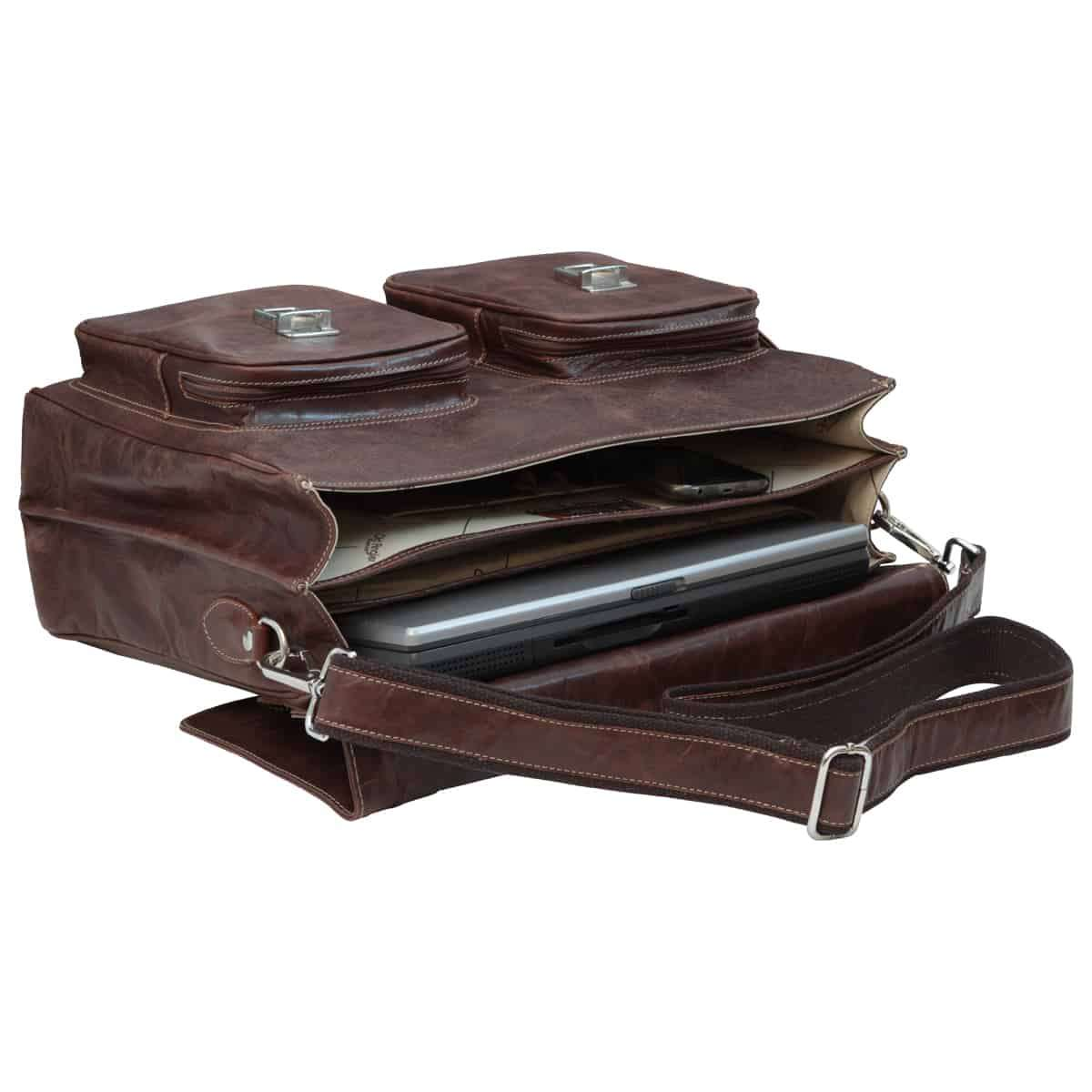 Oiled Calfskin Leather Briefcase with two clasp closure - Chestnut | 074361CA E | Old Angler Firenze