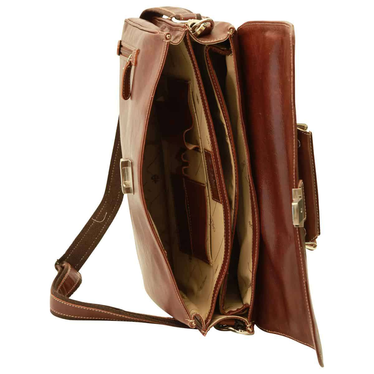 Oiled Calfskin Leather Briefcase with shoulder strap - Chestnut | 075861CA E | Old Angler Firenze