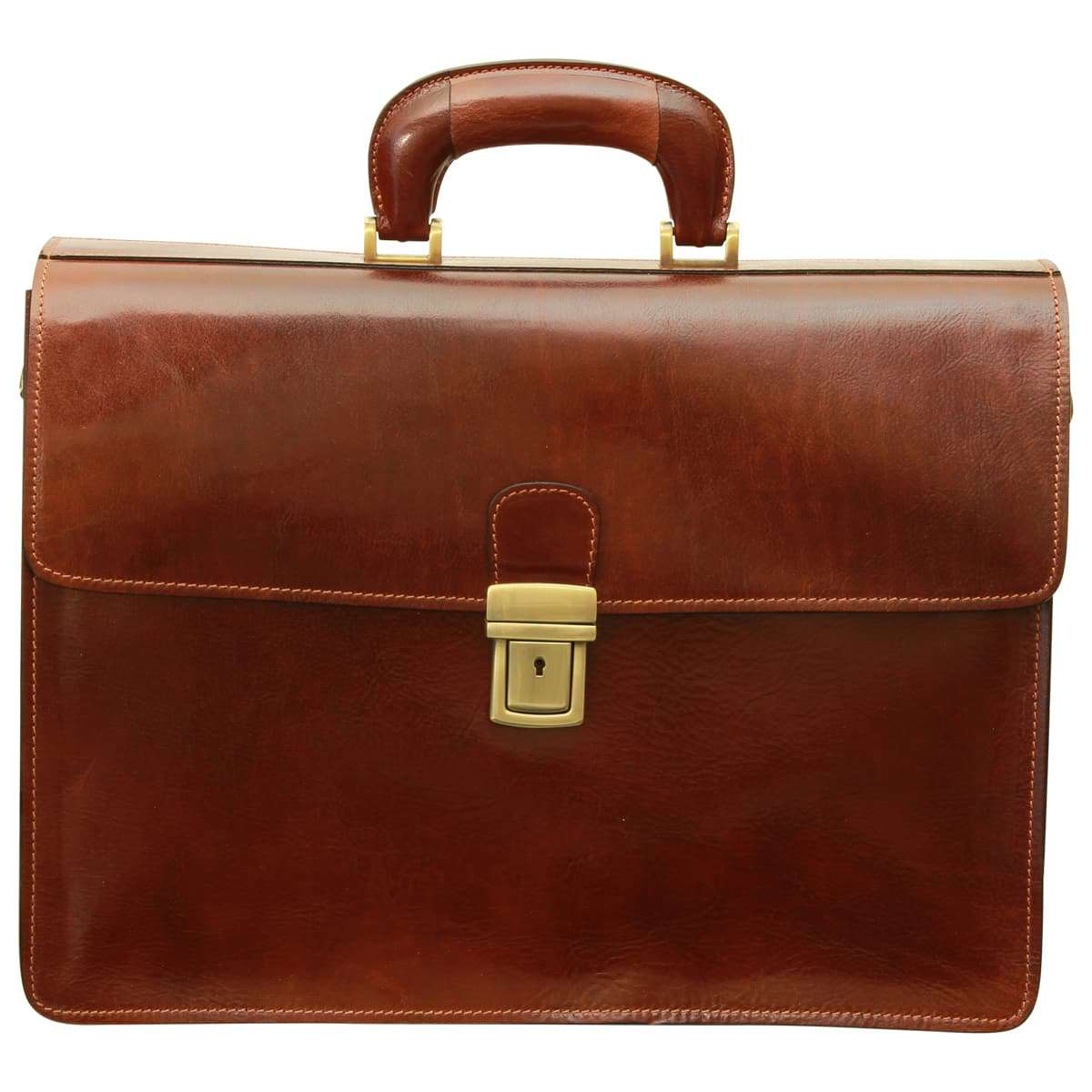 Leather Briefcase with secure clip closure - Brown | 077905MA UK | Old Angler Firenze