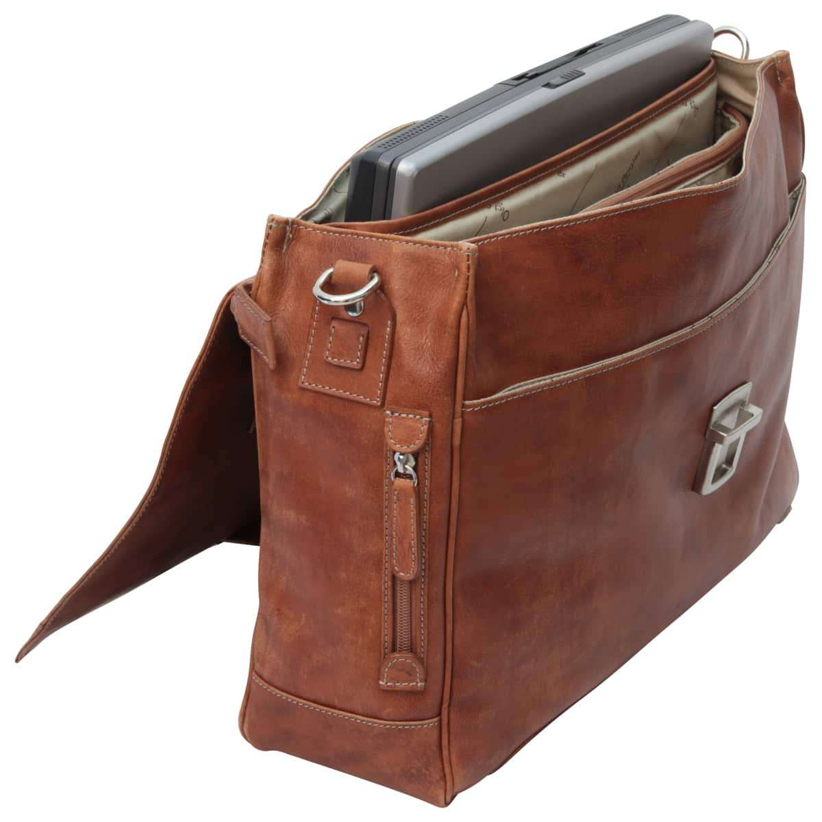 Leather Briefcase with back pocket - Brown Colonial | 082161CO UK | Old Angler Firenze