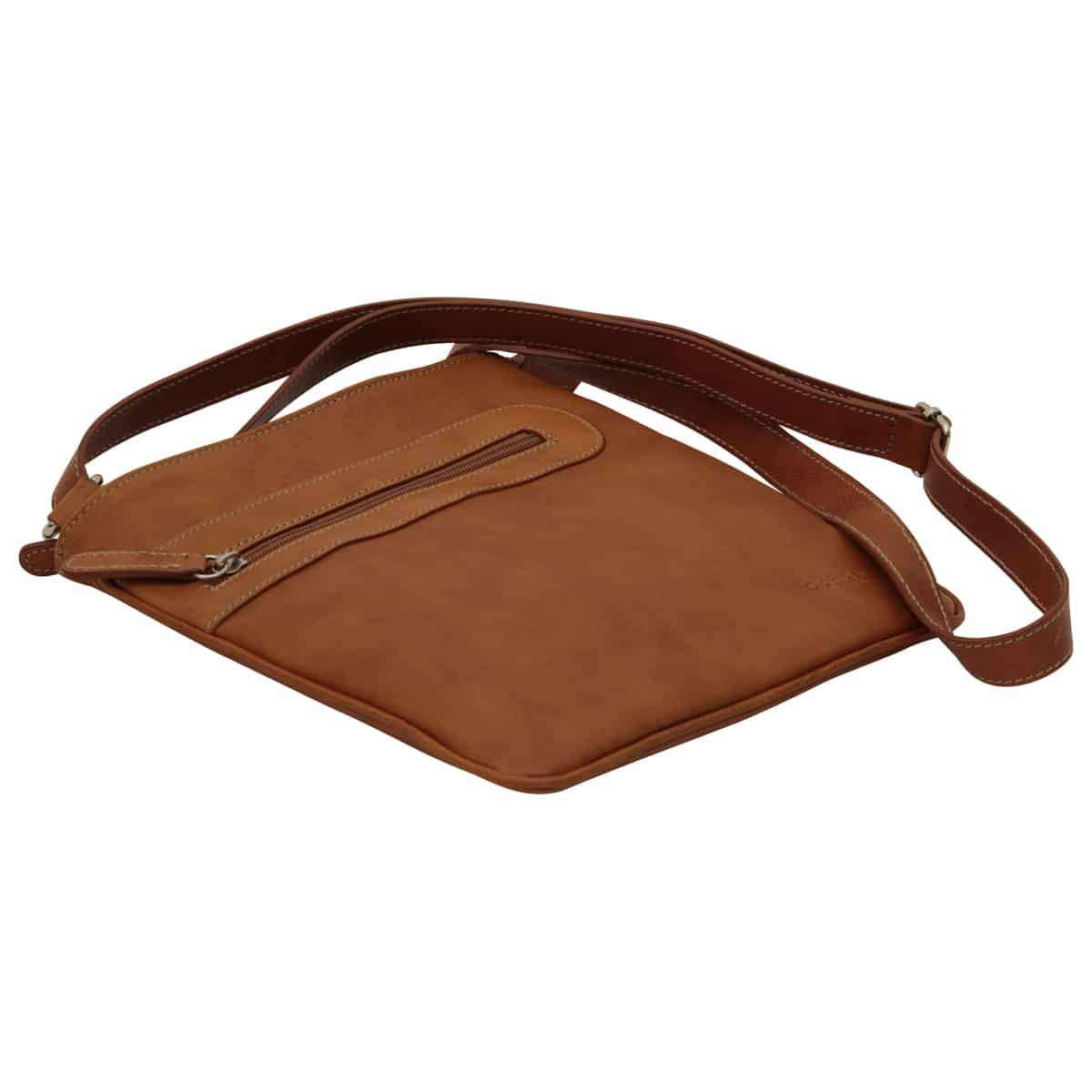 Leather cross body bag with zip pocket - Brown Colonial | 086161CO E | Old Angler Firenze