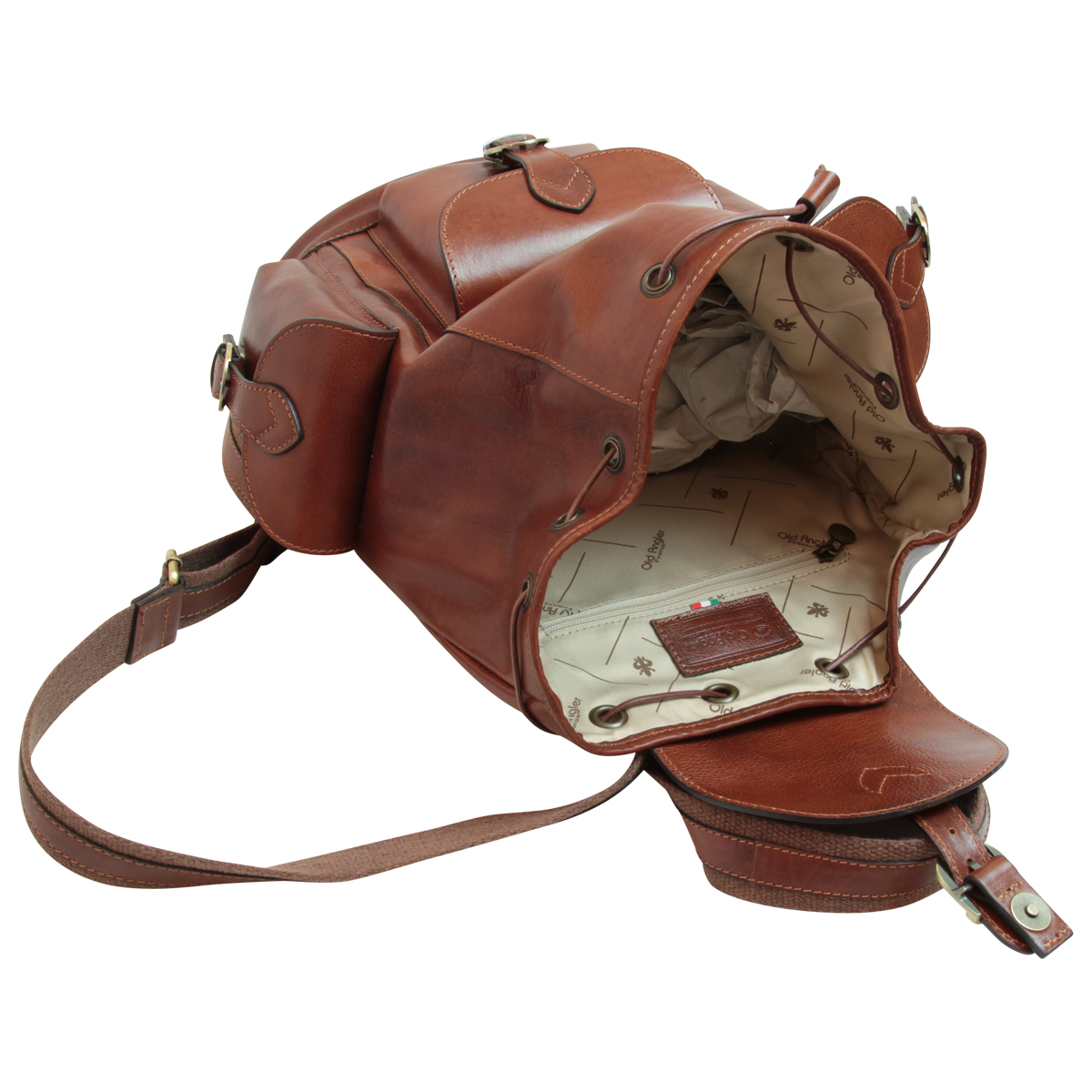 Leather backpack with 3 exterior pockets - Brown | 109105MA UK | Old Angler Firenze