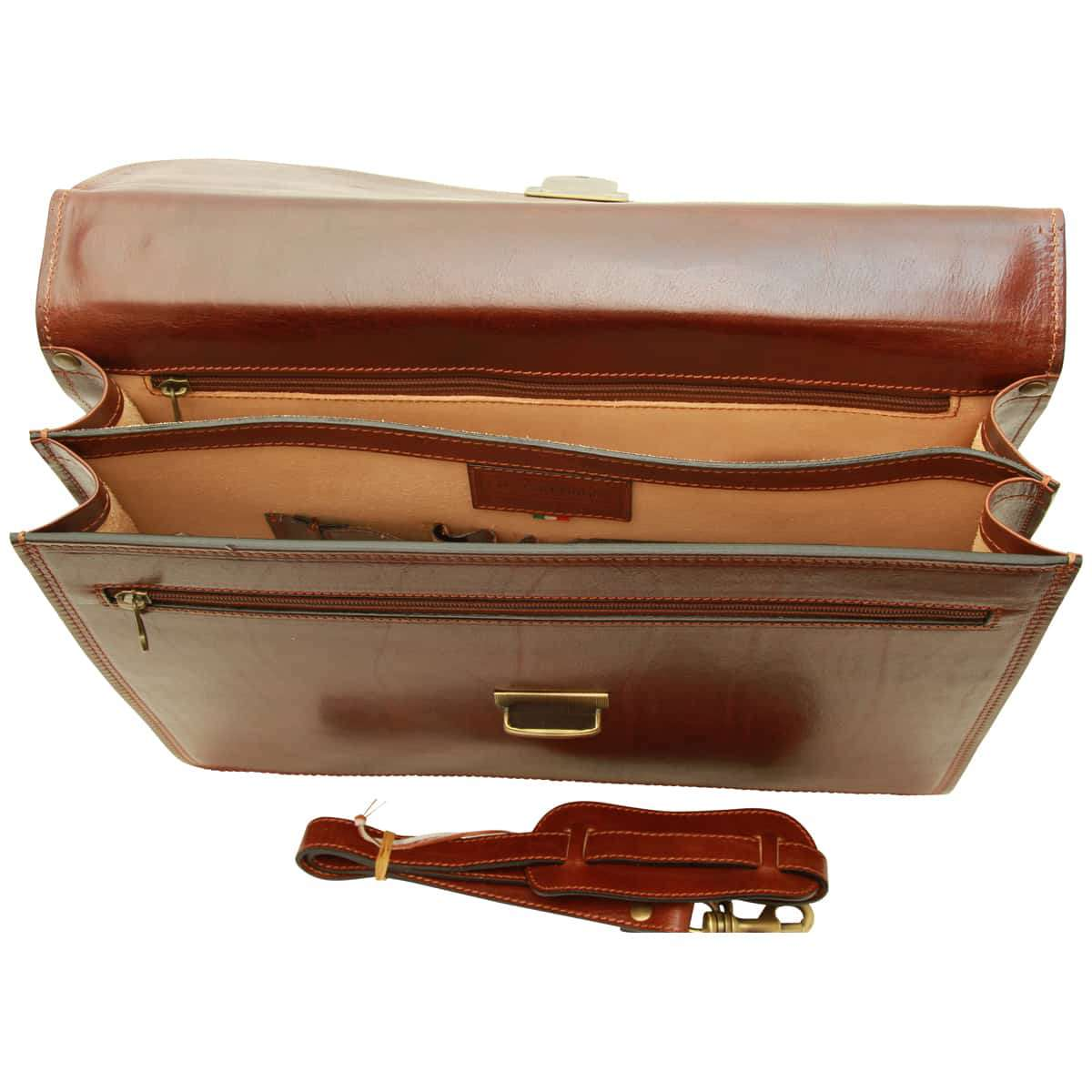 Vachetta Leather Briefcase - Brown | 200105MA UK | Old Angler Firenze