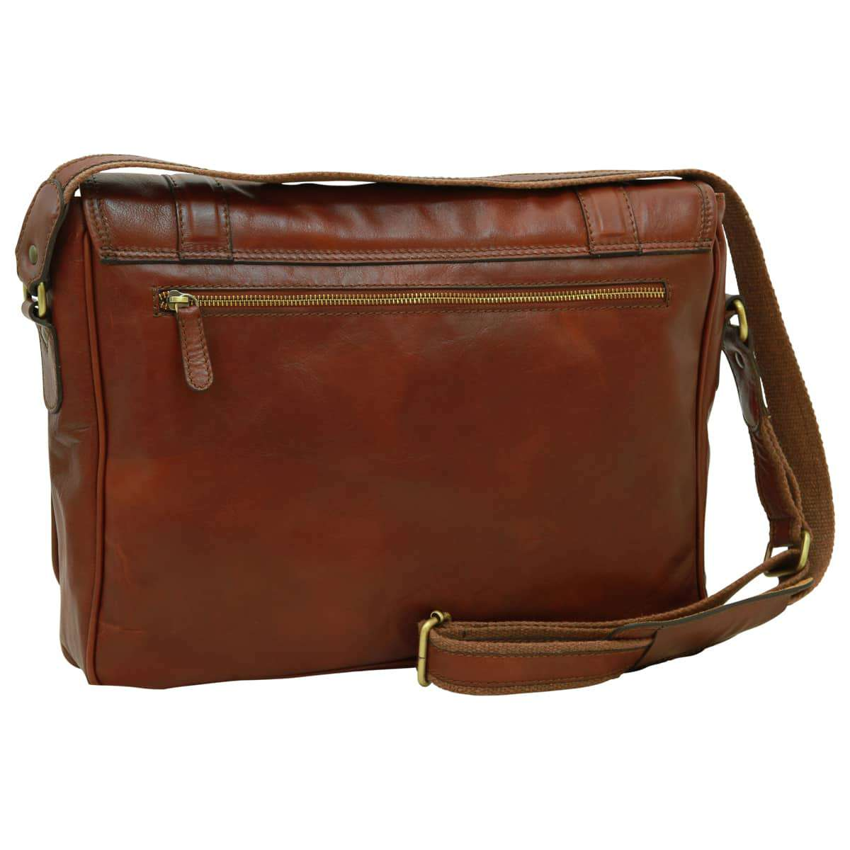 Soft Calfskin Leather Messenger Bag - Brown | 030491MA UK | Old Angler Firenze