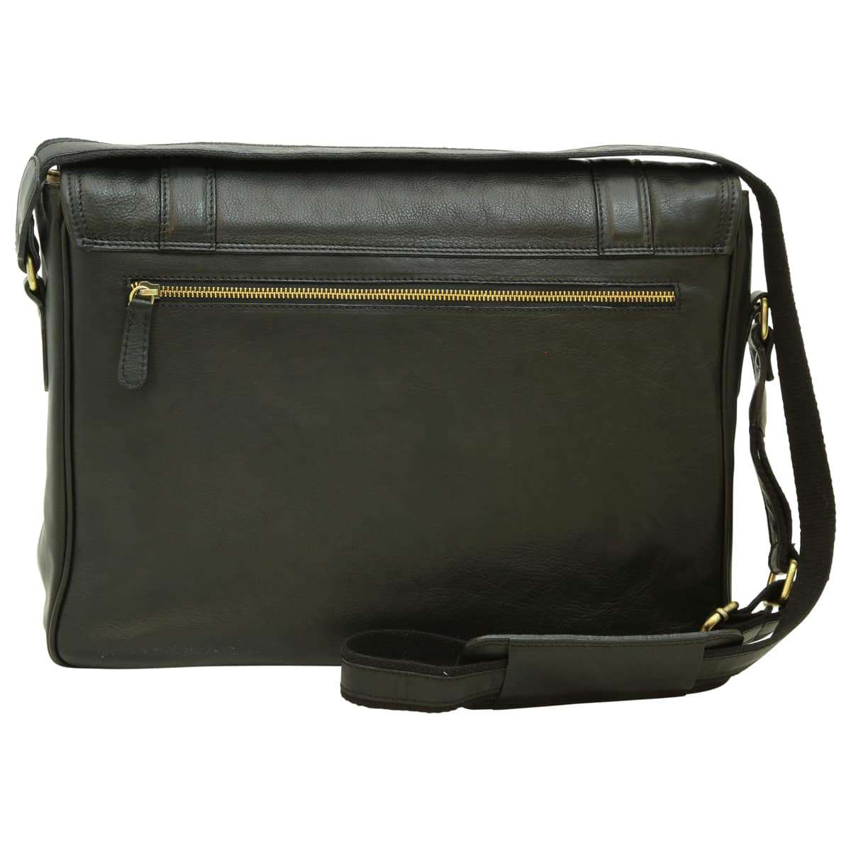 Soft Calfskin Leather Messenger Bag - Black | 030491NE E | Old Angler Firenze