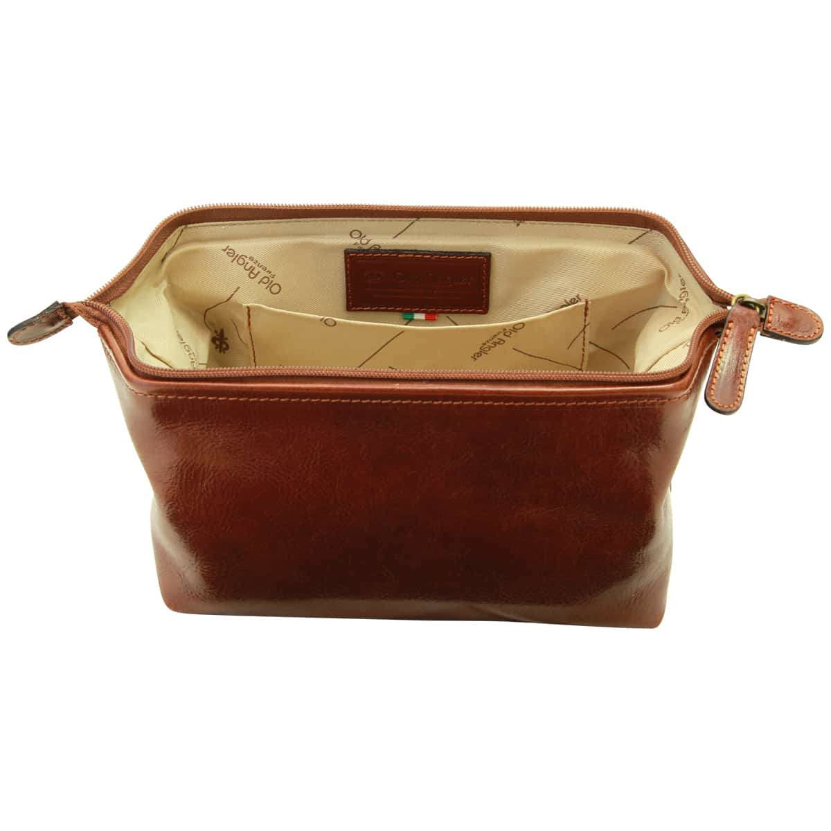 Cowhide beauty case - Brown | 401205MA UK | Old Angler Firenze