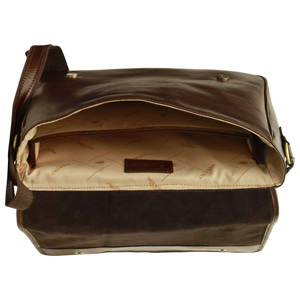 Borsa Messenger in vacchetta. Marrone scuro | 405089TM | Old Angler Firenze