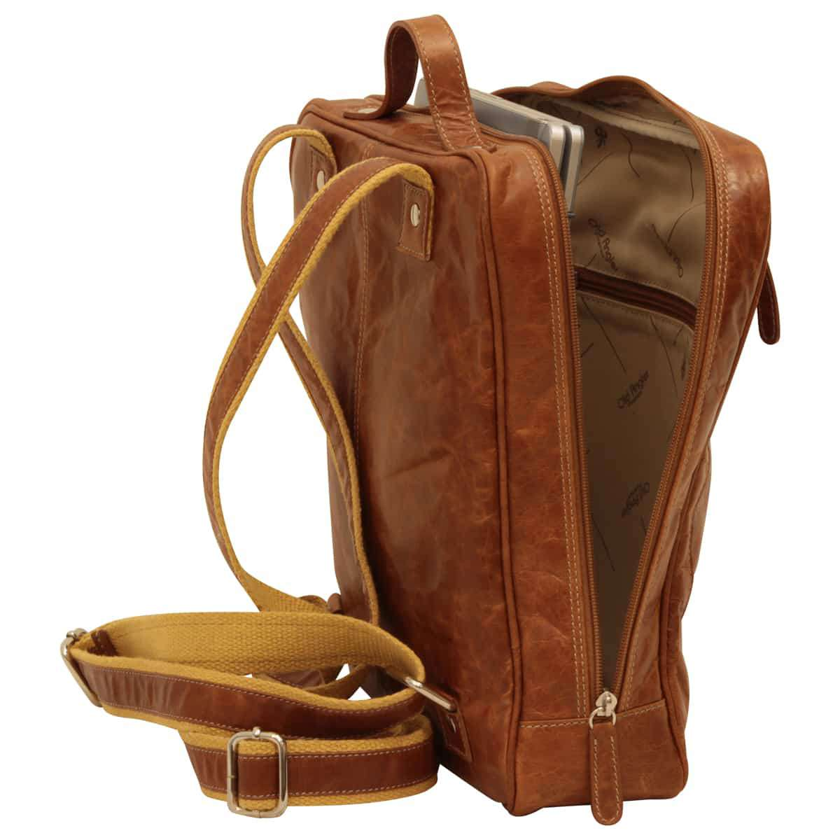 Oiled Calfskin Leather Laptop backpack with zip closure - Brown Colonial | 405261CO UK | Old Angler Firenze