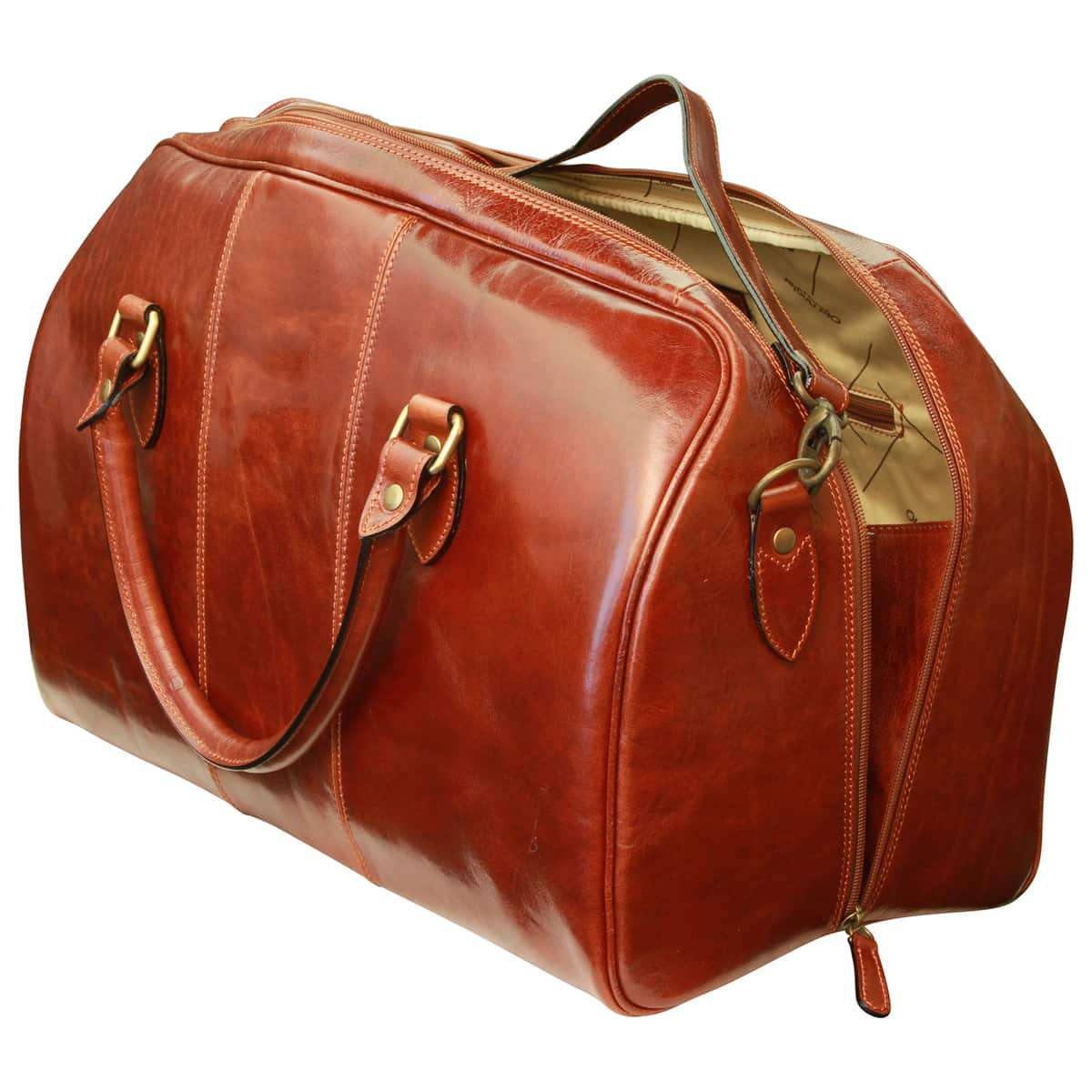 Leather duffel bag with zip closure - Brown | 407005MA UK | Old Angler Firenze