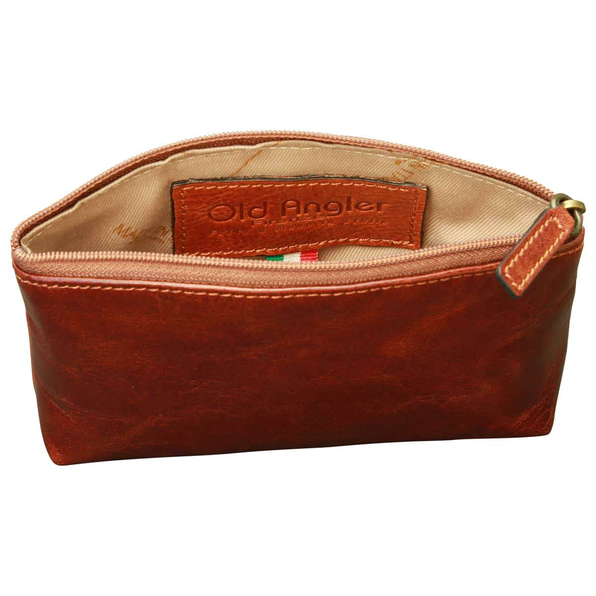Italian leather beauty case - Brown | 407705MA | EURO | Old Angler Firenze