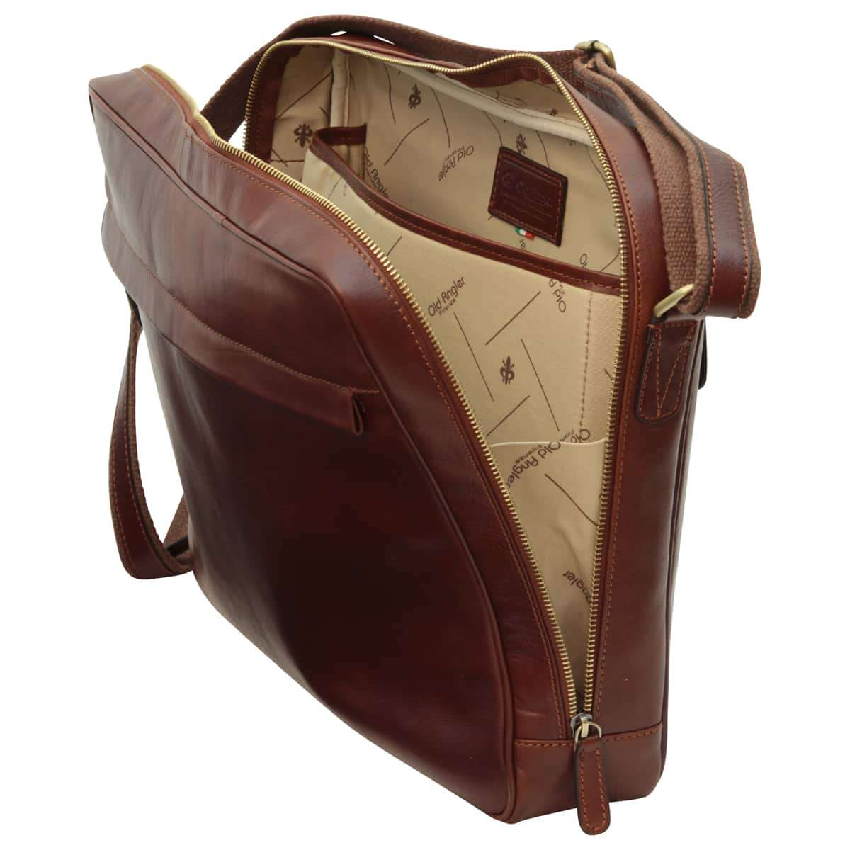 Vachetta Leather Messenger - Brown | 409189MA US | Old Angler Firenze