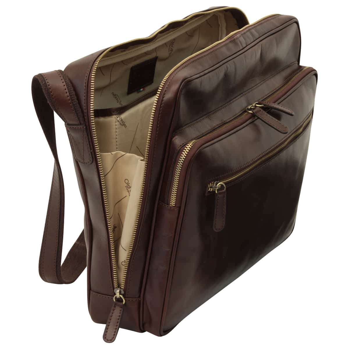 Large leather bag with zip closures - Dark Brown | 409289TM UK | Old Angler Firenze