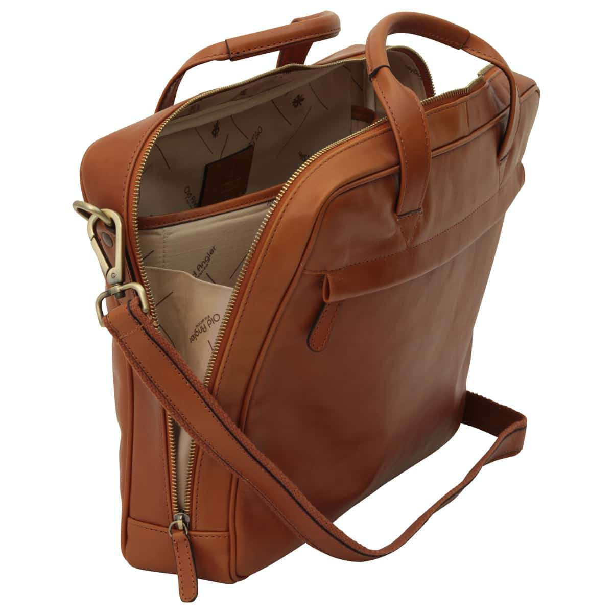 Leather Briefcase with zip closure - Brown Colonial | 409489CO UK | Old Angler Firenze