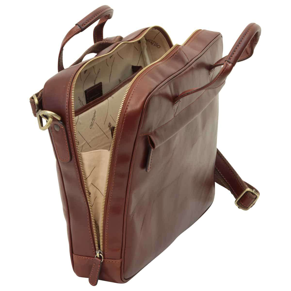 Leather Briefcase with zip closure - Brown | 409489MA UK | Old Angler Firenze