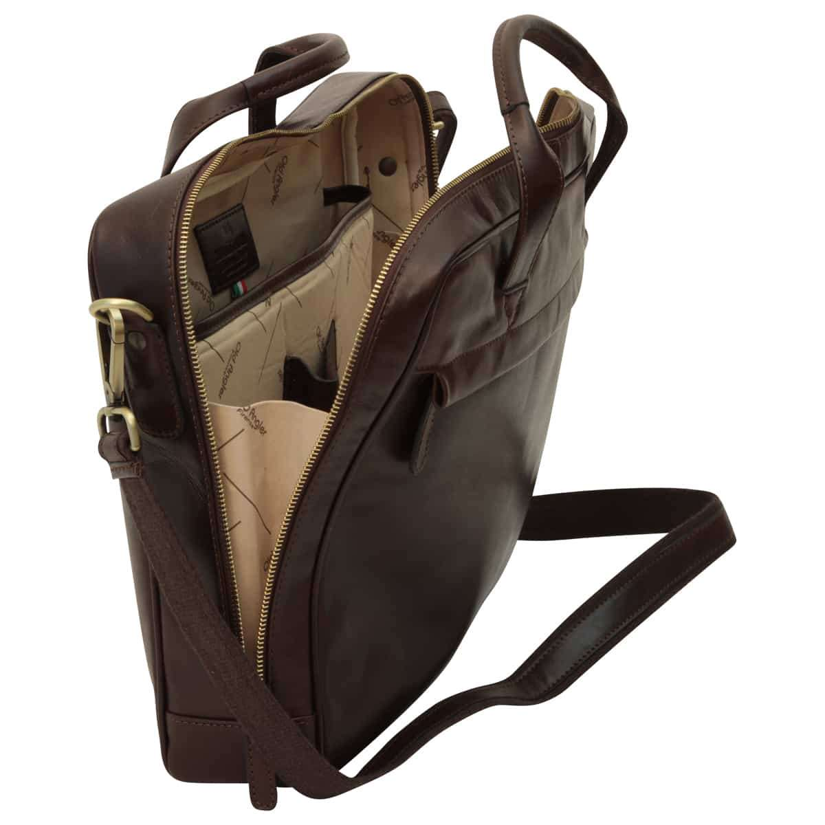 Leather Briefcase with zip closure - Dark Brown | 409489TM E | Old Angler Firenze
