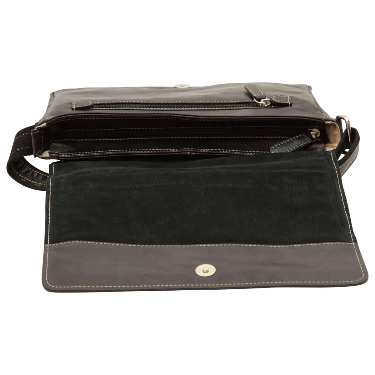 Oiled calfskin leather messenger with frontal zip closure - Black | 410461NE UK | Old Angler Firenze