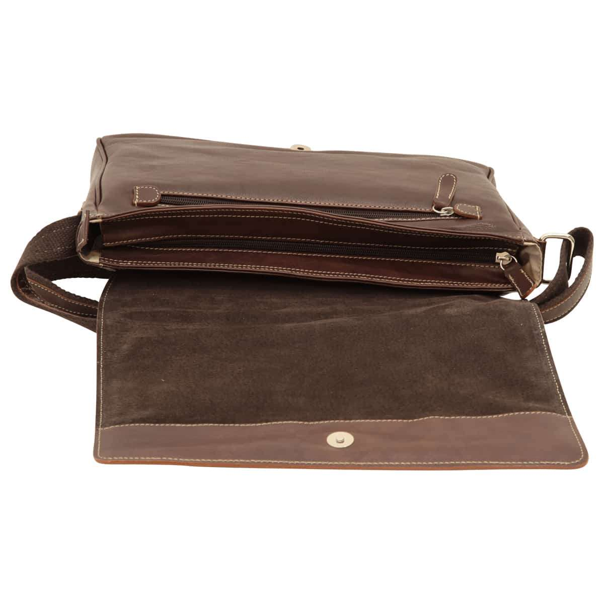 Oiled calfskin leather messenger with frontal zip closure - Dark Brown | 410561TM UK | Old Angler Firenze