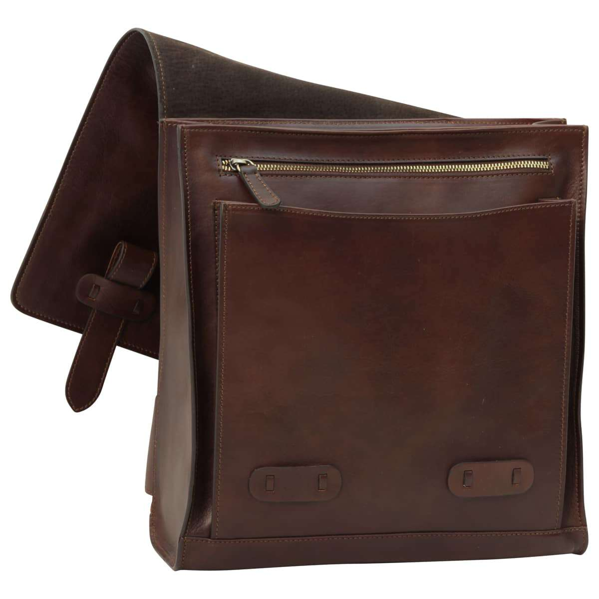 Cowhide leather backpack with double buckle closure - Dark Brown | 411689TM | EURO | Old Angler Firenze