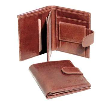 Three Part Cowhide Leather wallet - Brown | 502005MA UK | Old Angler Firenze
