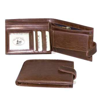 Leather Bifold Wallet with internal zip pocket - Brown | 503105MA UK | Old Angler Firenze