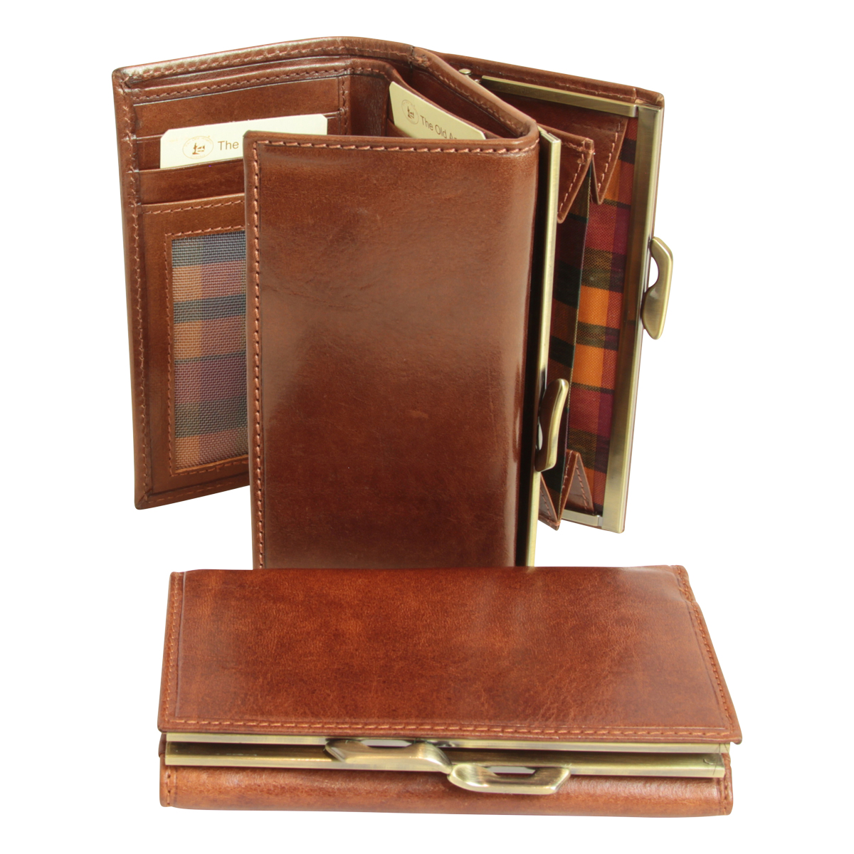 Leather Trifold Wallet with snap closure - Brown | 507205MA E | Old Angler Firenze