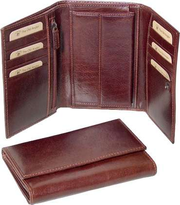 Authentic Leather Trifold Wallet - Brown | 507405MA UK | Old Angler Firenze