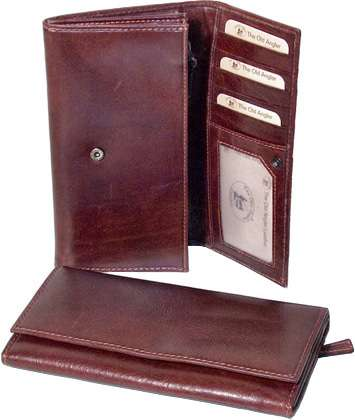 Leather wallet with external zip pocket - Brown | 507505MA UK | Old Angler Firenze