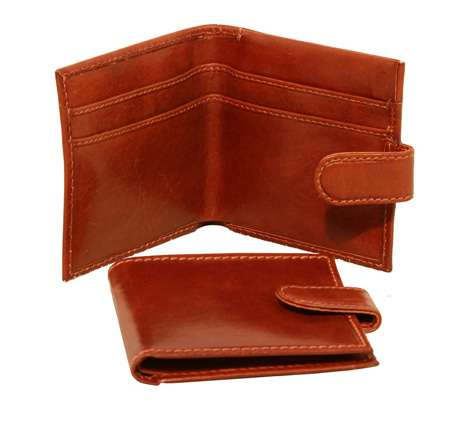 Men's Bifold Leather Wallet with snap closure - Brown | 508105MA | EURO | Old Angler Firenze