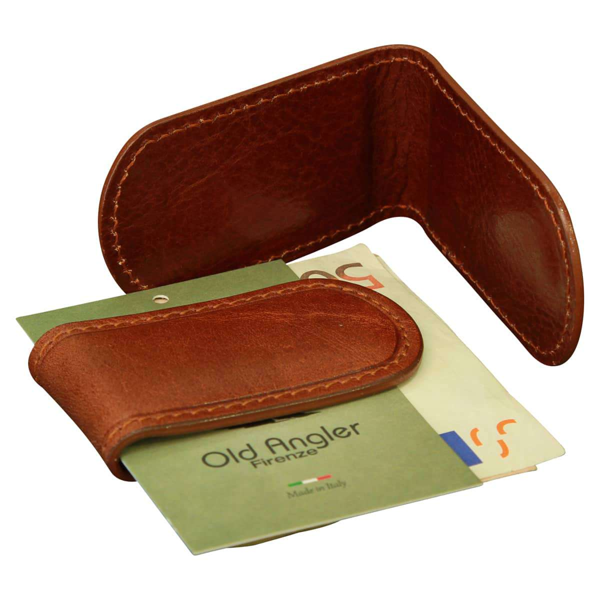 Leather Money Clip - Brown | 809005MA E | Old Angler Firenze