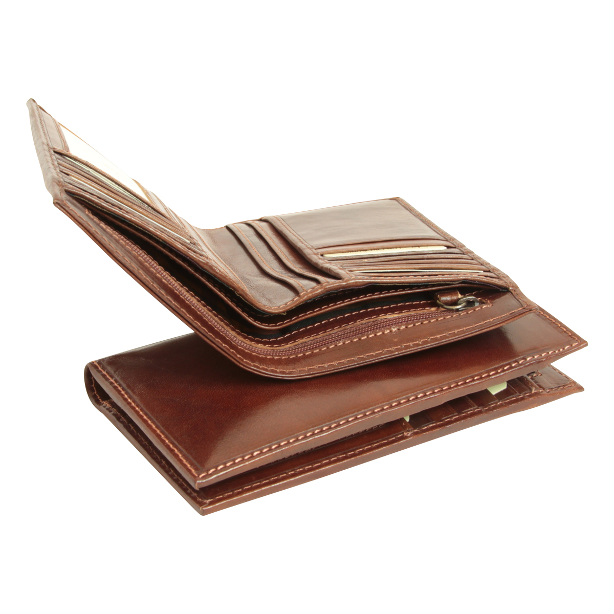 Leather wallet with zip closure - Brown | 550305MA | EURO | Old Angler Firenze