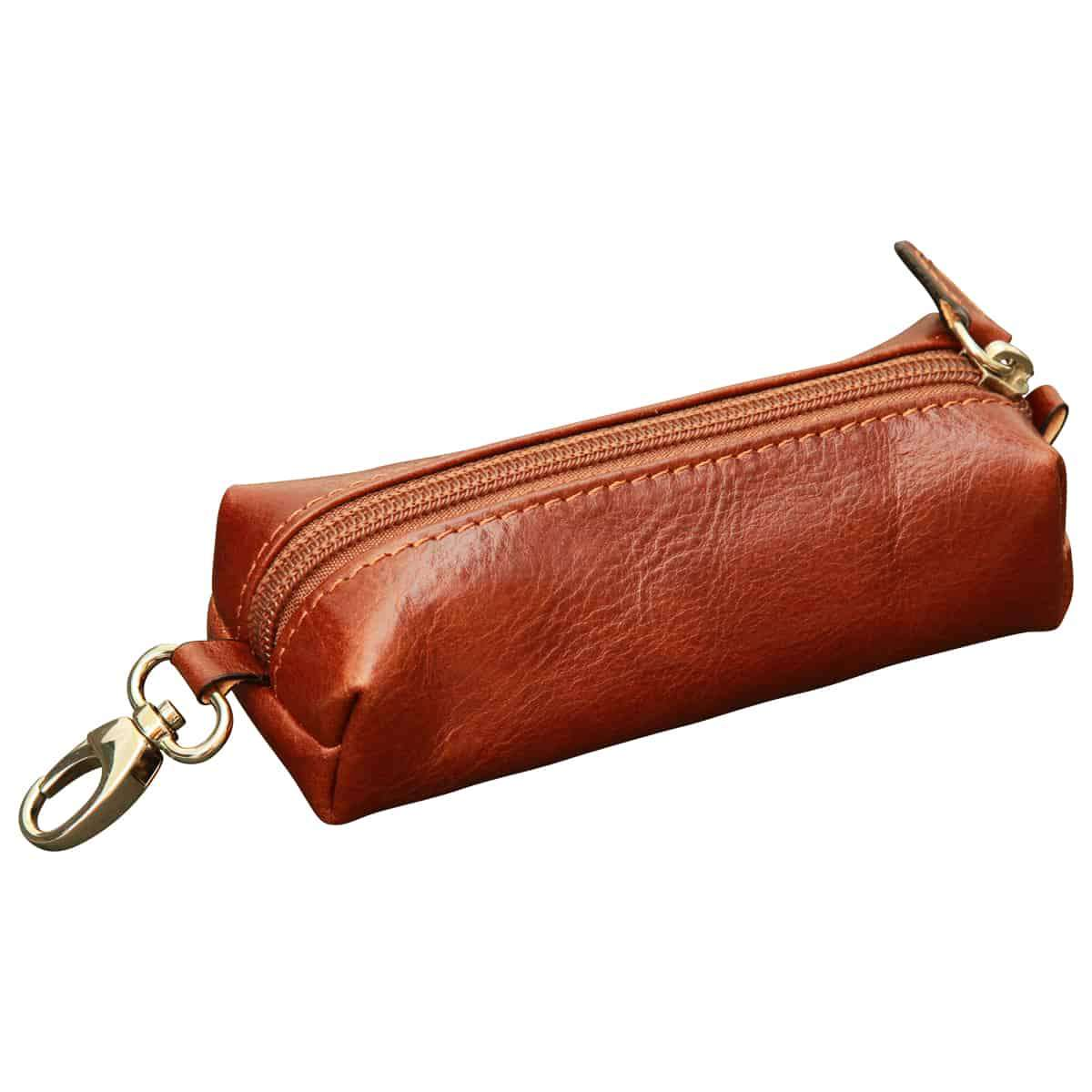 Leather Key Chain with zip closure - Brown | 557705MA | EURO | Old Angler Firenze