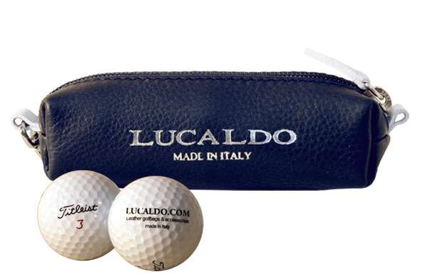 Selective Leather Golf Ball Holder - Black/Brown | 315065BB E | Old Angler Firenze